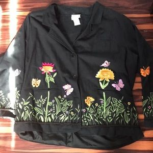 Quacker Factory 3x jacket spring flowers happy